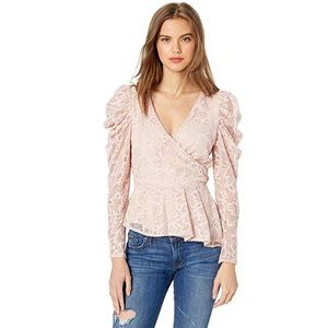 NWT Astr Icon Lace Puff Long Sleeve Wrap Top